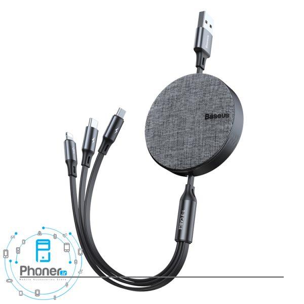 رنگ مشکی Baseus CAMLT-BYG1 Fabric 3-in-1 Flexible Cable