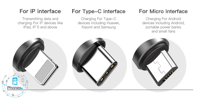 تنوع در کانکتور های Baseus CAMLT-BYG1 Fabric 3-in-1 Flexible Cable