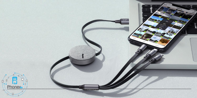 کابل سه سر Baseus CAMLT-BYG1 Fabric 3-in-1 Flexible Cable