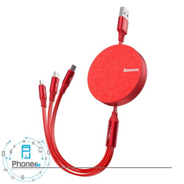 رنگ قرمز Baseus CAMLT-BYG1 Fabric 3-in-1 Flexible Cable