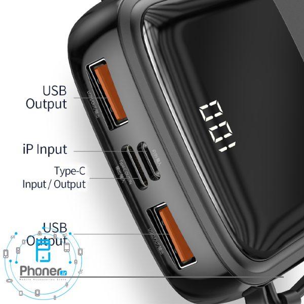 درگاه های شارژ رنگ مشکی Baseus PPQD-B01 Power Bank Q pow Digital Display