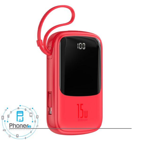 نمای کناری رنگ قرمز Baseus PPQD-B01 Power Bank Q pow Digital Display