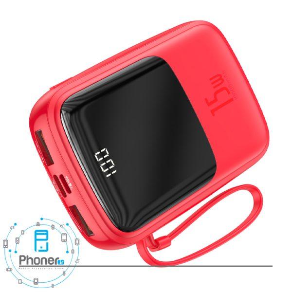 نمای درگاه های شارژ رنگ قرمز Baseus PPQD-B01 Power Bank Q pow Digital Display