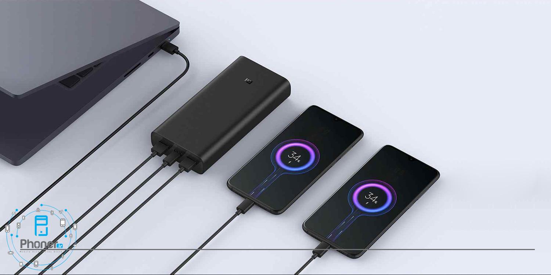 امکان شارژ سه دستگاه همزمان با Xiaomi PB2050ZM Mi Power Bank 3 Pro 50W