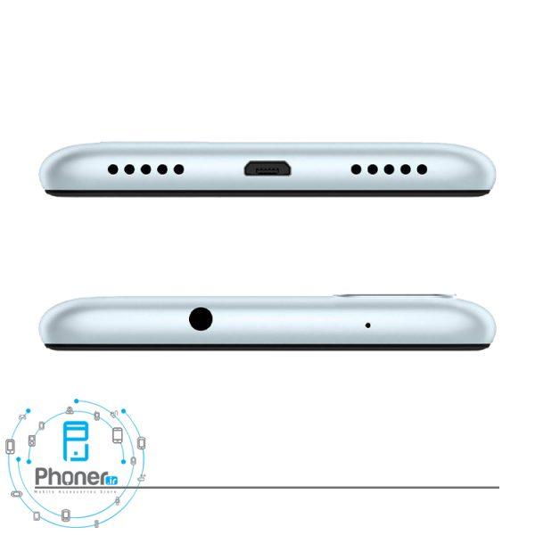 نمای بالا و پایین گوشی موبایل ASUS ZB570TL Zenfone Max Plus M1 رنگ نقره ای