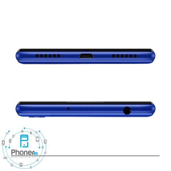 نمای بالا و پایین گوشی موبایل Huawei JAT-L41 Honor 8A رنگ آبی
