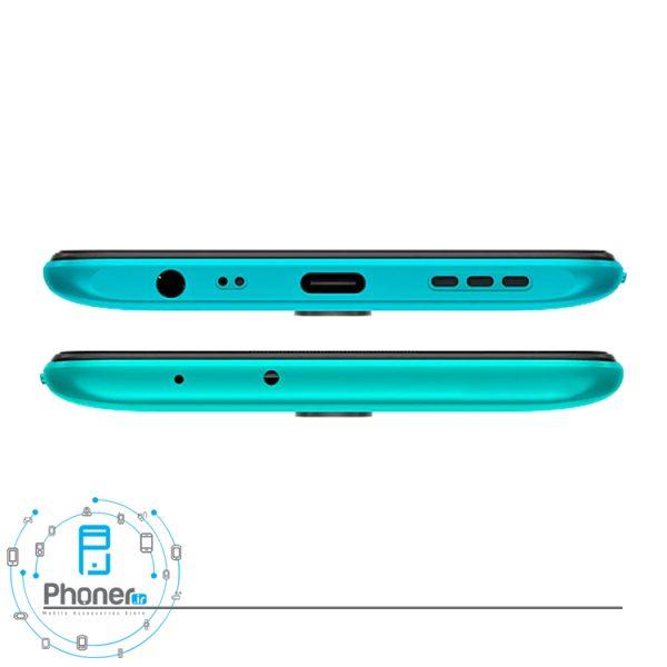 نمای بالا و پایین گوشی موبایل Xiaomi Redmi 9 رنگ سبز