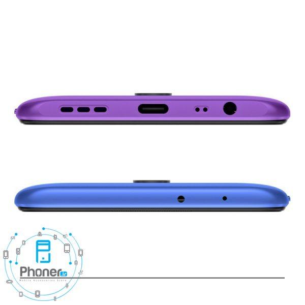 نمای بالا و پایین گوشی موبایل Xiaomi Redmi 9 رنگ آبی-بنفش