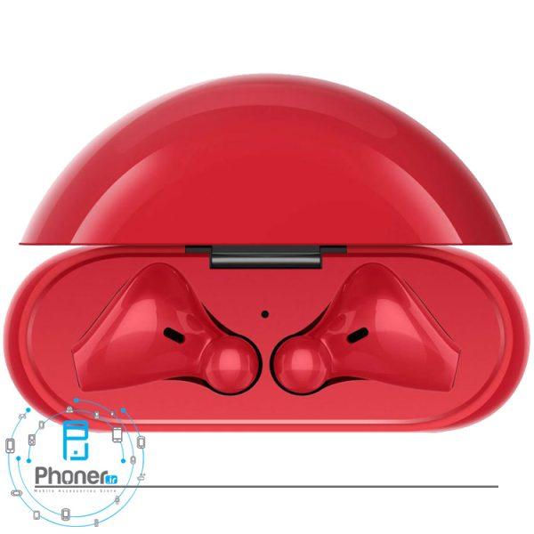 نمای بالای هندزفری بلوتوثی Huawei Freebuds 3 رنگ قرمز