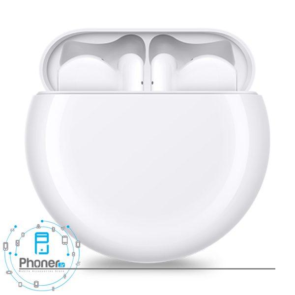نمای روبرو هندزفری بلوتوثی Huawei Freebuds 3 رنگ سفید