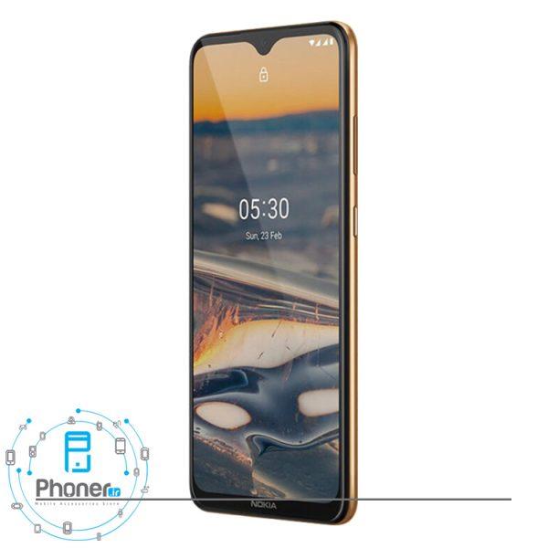 نمای کناری صفحه نمایش گوشی موبایل TA-1234 Nokia 5.3 رنگ طلایی