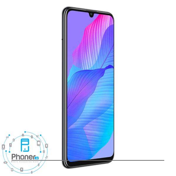 نمای کناری صفحه نمایش گوشی موبایل Huawei AQM-LX1 Y8p رنگ سفید
