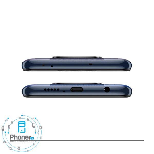 نمای بالا و پایین گوشی موبایل Xiaomi Poco X3 Pro در رنگ مشکی